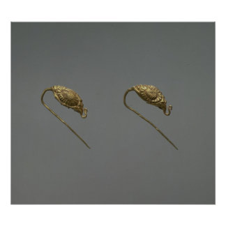 Pair of gold earrings, Liao Dynasty Poster