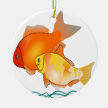 Pair of Goldfish Friends Double-Sided Ceramic Round Christmas Ornament