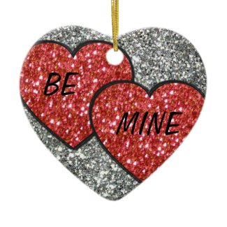 Pair of Hearts in Red Glitter Ornament