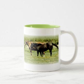 Pair of Horses Two-Tone Coffee Mug
