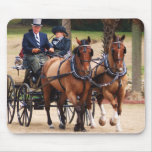 pair of horses pulling carriage mouse pad