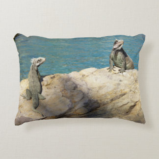 Pair of Iguanas Tropical Wildlife Photography Decorative Pillow