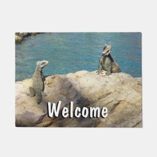 Pair of Iguanas Tropical Wildlife Photography Doormat