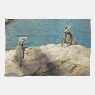 Pair of Iguanas Tropical Wildlife Photography Hand Towels