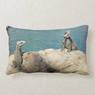 Pair of Iguanas Tropical Wildlife Photography Lumbar Pillow