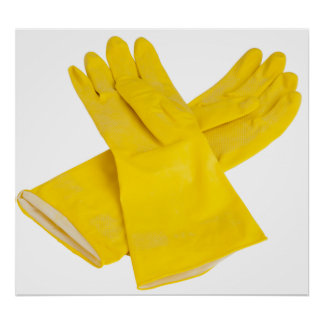 Pair of latex gloves poster
