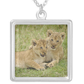 Pair of lion cubs playing, Masai Mara Game Square Pendant Necklace
