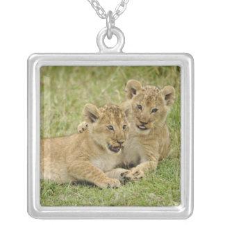 Pair of lion cubs playing Masai Mara Game Custom Necklace