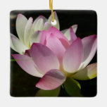 Pair of Lotus Flowers II Ceramic Ornament