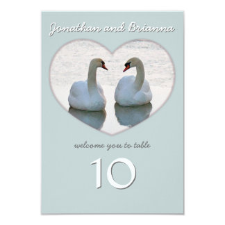 Pair of Love Bird Swans Heart Table Cards