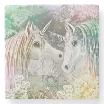 Pair of Loving Unicorns in an Enchanted Garden Stone Coaster