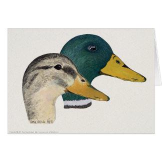 Pair of Mallard Ducks, Drake and Hen, Watercolor Greeting Card