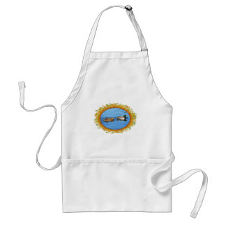 Pair of mallard ducks in frame of leaves adult apron