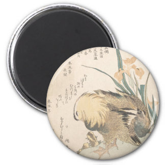 Pair of Mandarin Ducks and Iris Flowers Magnet