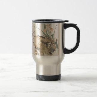 Pair of Mandarin Ducks and Iris Flowers Travel Mug
