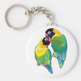pair of masked lovebirds basic round button keychain