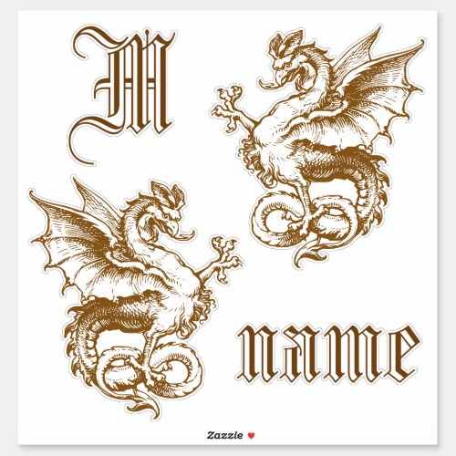 Pair of Mediaval Dragons with Custom Text Sticker
