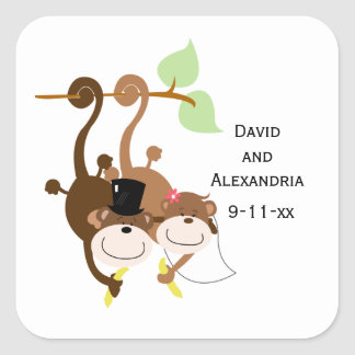 Pair of Monkeys in a Tree Wedding Bridal Favor Square Sticker