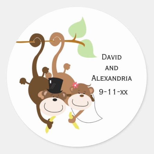 Pair of Monkeys in a Tree Wedding Bridal Favor Sticker