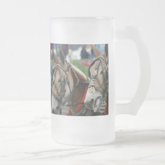 Pair of mules frosted glass beer mug