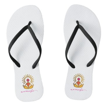 Beach Themed Pair of Namaste Golden Sun Pose Flip Flops