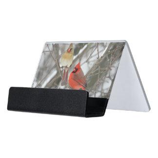 Pair Of Northern Cardinals Desk Business Card Holder