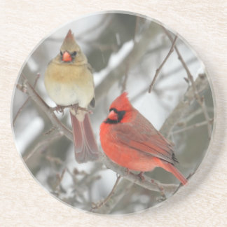 Pair Of Northern Cardinals Drink Coaster