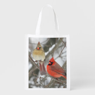 Pair Of Northern Cardinals Grocery Bags