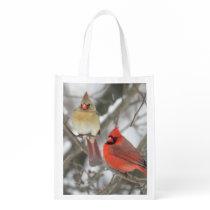 Pair Of Northern Cardinals Reusable Grocery Bag