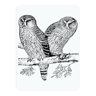 Pair of Owls 5.5x7.5 Paper Invitation Card