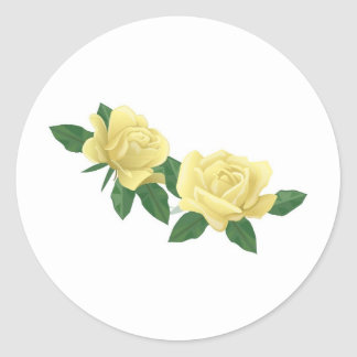 Pair of Pale Yellow Roses Classic Round Sticker