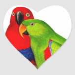 Pair of Parrots Love Birds Heart Sticker