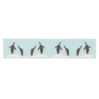 pair of penguins short table runner