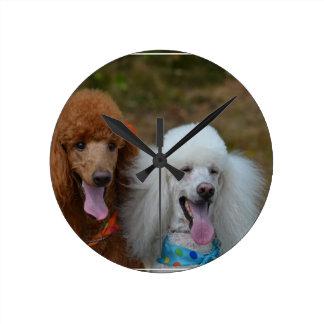 Pair of Poodles Round Clock