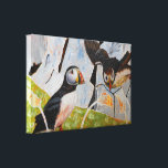 """Pair of Puffins Canvas Print<br><div class=""""desc"""">Puffins nest on the Wales coast cliffs during May to June and in July are getting their chicks ready to leave the nest.  I&#39;ve always loved their boldly coloured beaks and comical flight.</div>"""