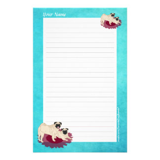Pair of Pugs Personalized Stationery