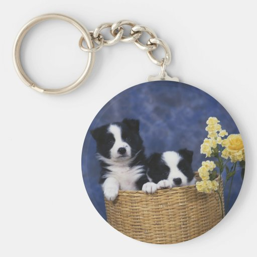 Pair of Puppies in a Basket Keychains