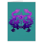 Pair of Purple Dragons on Gifts and Apparel Greeting Cards