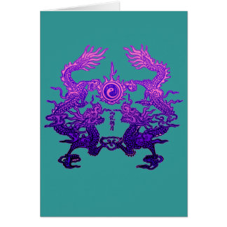 Pair of Purple Dragons on Gifts and Apparel Card