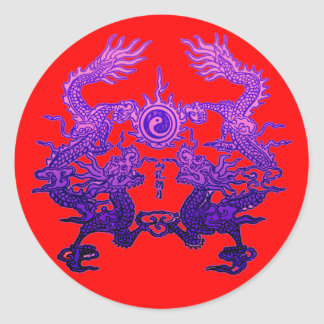 Pair of Purple Dragons on Gifts and Apparel Classic Round Sticker
