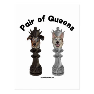 Pair of Queens Chess Dogs Postcard