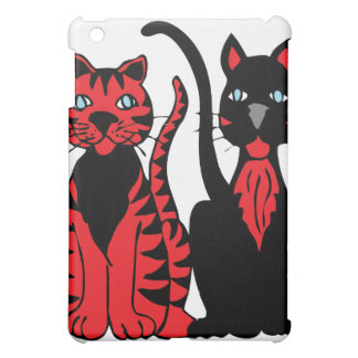 Pair of Red & Black Cats Case For The iPad Mini