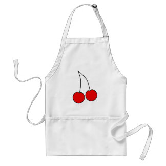 Pair of Red Cherries. Black Outline. Adult Apron