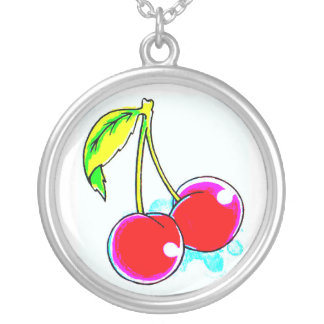 pair of red cherries silver plated necklace