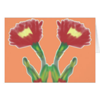 Pair of Red Flowers Card
