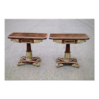 Pair of Regency card tables on quadruple bases Poster