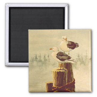 PAIR of SEAGULLS by SHARON SHARPE 2 Inch Square Magnet