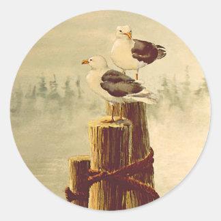 PAIR of SEAGULLS by SHARON SHARPE Classic Round Sticker