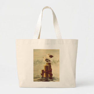 PAIR of SEAGULLS  by SHARON SHARPE Large Tote Bag