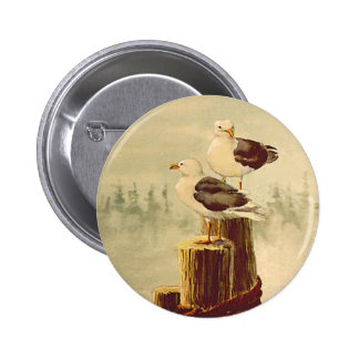 PAIR of SEAGULLS by SHARON SHARPE Pinback Button